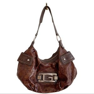 G By Guess Brown Shoulder Bag Logo Silver Hardware